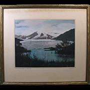 """c. 1930s Photo """"Mendenhall Glacier Alaska"""", Signed """"Ordway"""", Original Frame"""