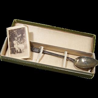 Rare 1919 Le Mans France Sterling Spoon MIB w/Mme. Poisson Shop Calender Book
