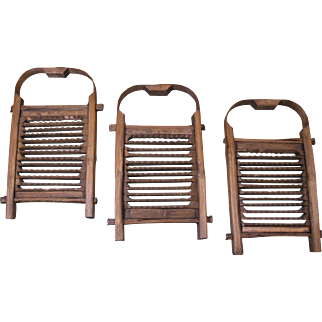 Three Old Chinese Bamboo Ginger Graters