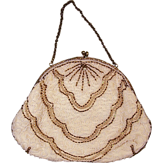 Vintage Charlet Beaded Evening Handbag Made in U.S.A. with Mirror