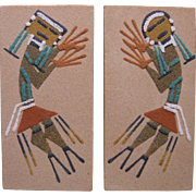 Two Small Navajo Sand Paintings, Rainbow People, Signed Tom Yazzie