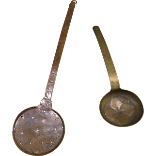 19th Century Ladle and Skimmer, Decorated, Copper and Brass