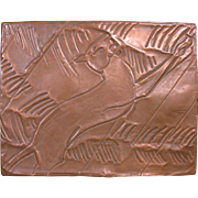 Hammered Copper Art Deco Lid on Lucky Strike Cigarette Tin - Red Tag Sale Item