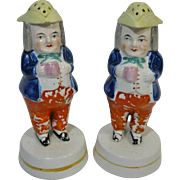 Mid-1800s Matched Pair of Staffordshire Pepper Pot Figural Shakers
