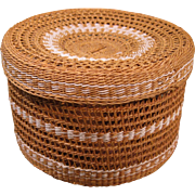 Small Open Work Basket with Lid