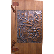 1940 Home Guest Log, Wood Cover with Hammered Copper Tropical Bird