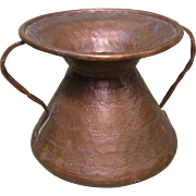Small Hammered Copper Pot, Decorative Designs, Twisted Copper Handles