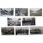 Eight Canada Postcards - Hotels, Lakes, Mountains, Glacier, Early to Mid-1900s