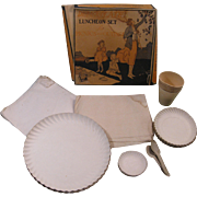 1920 Motor Trip Delux-Plate Paper Luncheon Set, Box, Dixie Cups