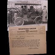 1921 Photograph, NYC Mayor Hylan in 1897 Haynes Auto, Telegram
