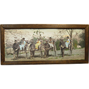 Japan Hand-Colored Photograph, Meiji Period, Four Women in Pulled Rickshaws