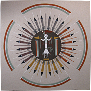 Vintage Navajo Sand Painting, Sun and Eagle, 18 by 18 Inches