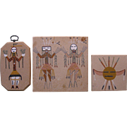 Three Small Vintage Navajo Sand Paintings, Signed with Inscriptions