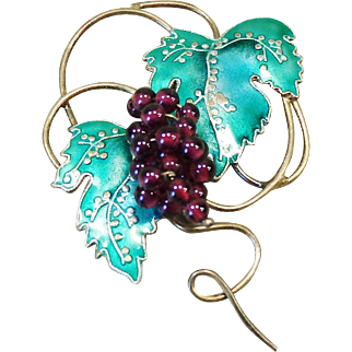 Vintage Grape Vine Pin with Enameled Leaves and Glass Bead Grapes