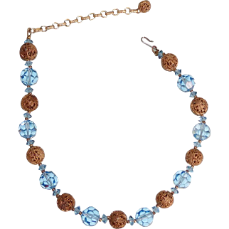 Vintage Blue Crystal Choker Necklace with Brass Filigree Beads