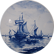 Villeroy & Boch Plate, Wallerfangen Germany, Sailing Ships and Rowboat, circa 1900