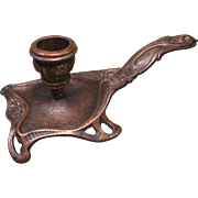 Late 1800s Art Nouveau Bronze Chamberstick, Woman with Flowing Hair Handle