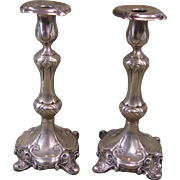 Pair 19th Century Sabbath Candlesticks, H.A. Jurst & Co., Berlin, Brass