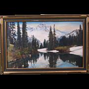 1920s Hand-Tinted Photo Mt. Rainier and Mirror Lake, Original Frame