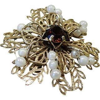 Delicate Vintage Filigree Pin with Mini Faux Pearls and Brown Stone