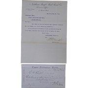 1884 Letter, Northern Pacific Rail Road Co. and Bank Letter of Advice