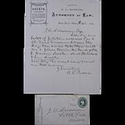 1872 Letter & Envelope, Attorney at Law, Saint Cloud, Minnesota