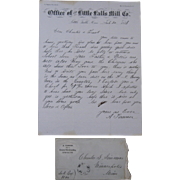 1873 Letter & Envelope, Little Falls Mill Co., Minnesota