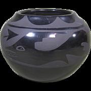 Santa Clara Black on Black Pot by Santanita Suazo, Avanyu & Rain Clouds Design