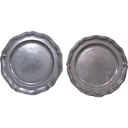 Pair 18th - 19th Century Pewter Plates, Wavy Edge, Touchmarks
