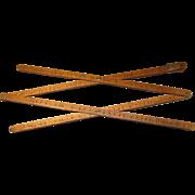 Circa 1900 Handmade Wood Pantograph, Hand Written Numbers, Brass Fittings