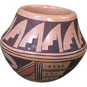 Small Hopi Tewa Polacca Pot by Ethel Youvella, Black and Red on Buff