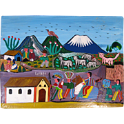 Folk Art Painting on Sheepskin, Quechua Indians, Tigua, Ecuador, Signed