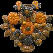 Vintage Pottery Tree of Life Candleholder, Mexico Folk Art