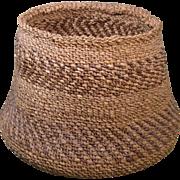 Circa 1900 Large Klamath or Modoc Basket, 7 1/4 Inches Tall, 11 Inch Bottom Diameter