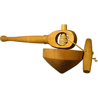 Early 1900s Wooden Top with Pull String and Launcher Handle