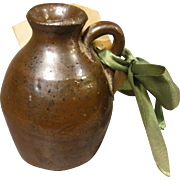 """c. 1900 Brown Saltglaze Mini Jug with Tag - Gift for """"Father of the Bride"""", Poem"""