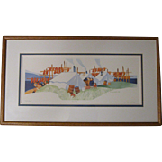 "Rie Munoz 1984 Eskimo Print ""FISH CAMP"", Signed/Numbered 261/750, Framed and Matted"
