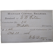 1876 Michigan Central Railroad Conductor Receipt