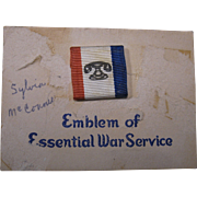 WWII Emblem of Essential War Service, Pinback on Card, Telephone Co. Recognition