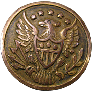 19th Century U.S. Military Brass Pinback Button, Right Facing Eagle