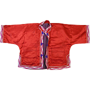 Japanese Child's Silk Jacket, Red with Purple Lining, Mid-1900s