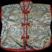 "Japanese Child's Silk Jacket, ""Golden Lotus at Waikiki Hawaii"" Label, Mid-1900s"