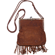 Leather Purse with Fringe, 19th Century, Note with History