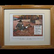 "1960s Perrier Golf Print RULE IX, ""Any loose impediment ..."", Mat and Oak Frame"
