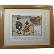 "1960s Perrier Golf Print RULE X, ""Any vessel or obstruction ..."", Mat, Oak Frame"