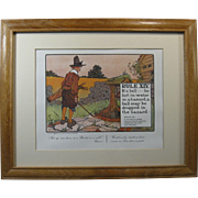 """1960s Perrier Golf Print RULE XIV, """"If a ball be lost ..."""", Mat and Oak Frame"""