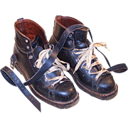 Circa 1950 Henke Ski Boots, Metal Tips, Leather Straps, Laces