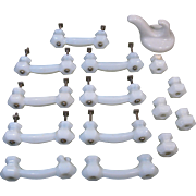 Vintage White Milk Glass Drawer Pulls, 14 Drawer Pulls, 1 Hook