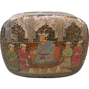 Kashmir India Polychrome Lacquer Ware Paper Mache Box, with Lid, c.1900