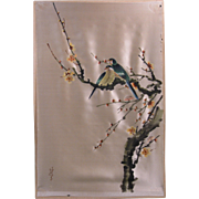 Vintage Japanese Watercolor on Silk, Signed